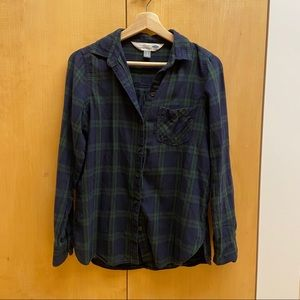 Green and blue plaid flannel
